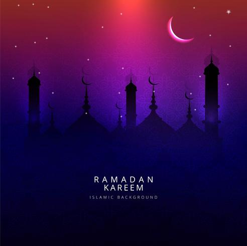 Ramadan Kareem greeting with mosque colorful background