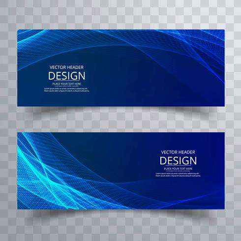 Modern blue wavy banners set design