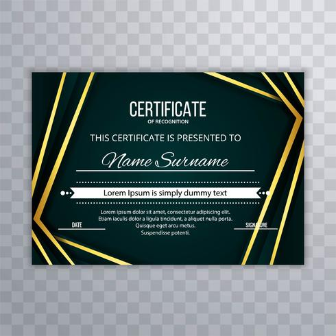 Abstract colorful line wave certificate template design