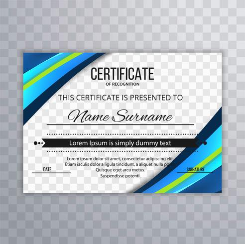Hermoso colorido creativo certificado plantilla onda fondo