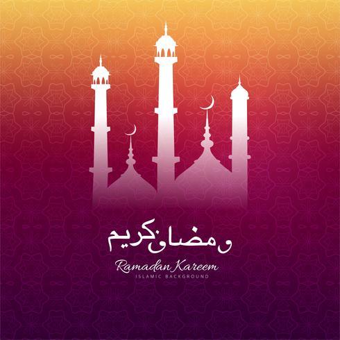 Saluto di Ramadan Kareem con il backgrou variopinto decorativo della moschea