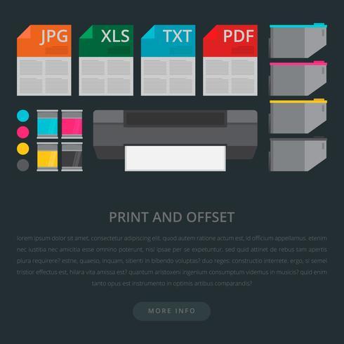 Impresora de tóner con ilustración de tinta CMYK