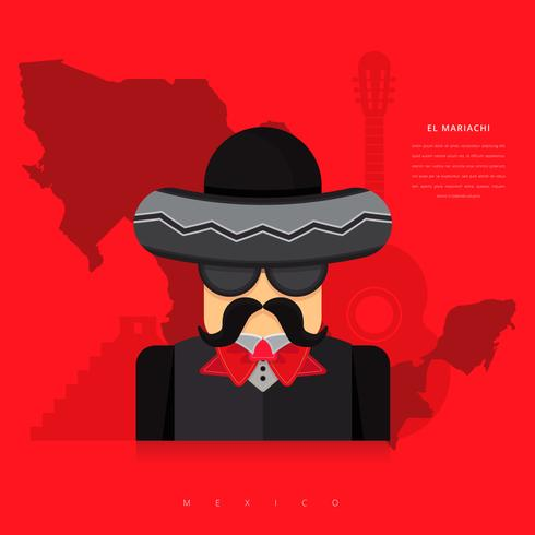 Mariachi Mexico Karaktärs illustration