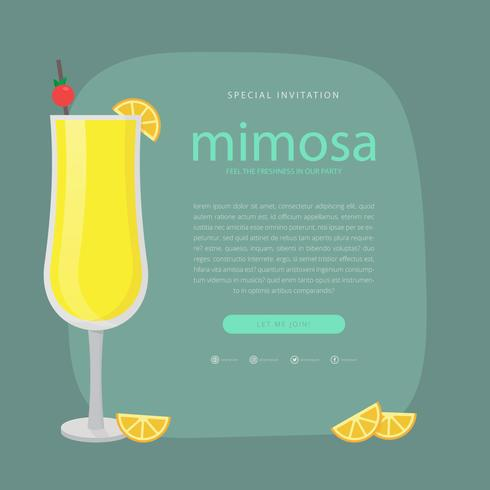 Mimosa Drink Hipster Illustration
