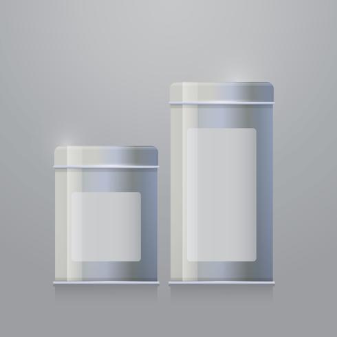 Modelli di scatola di latta. Illustrazione realistica.