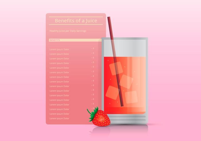 Nutrition Fakta om jordgubbsinfografiska mallar, med glas juice