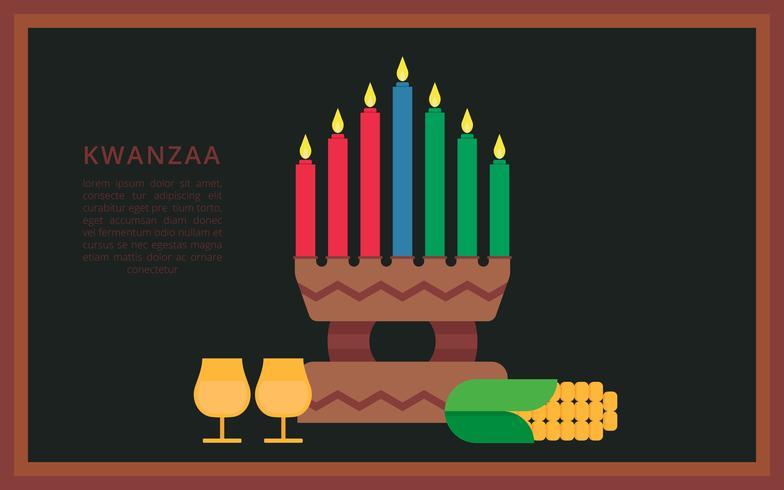 Kwanzaa illustration hälsningar. Afrikansk amerikan helgdag festival av skörd.
