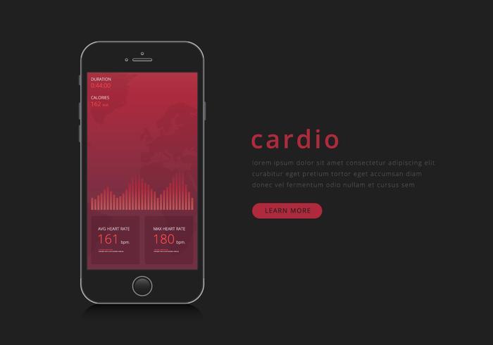 monitor del ritmo cardiaco nell'applicazione mobile.