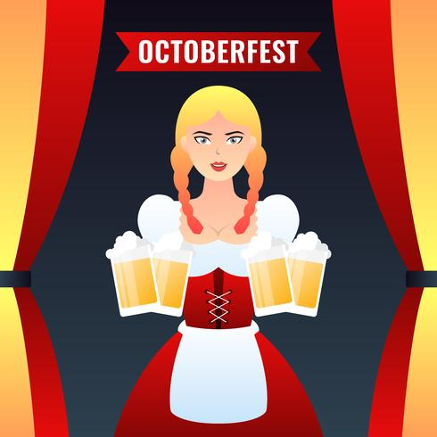 German Girl Waitress In Traditional Clothes Holding Yellow Beer Mugs Vector Colorful Illustration