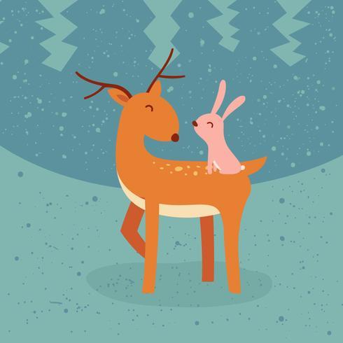 Cute Animals Friend Vector Illustration