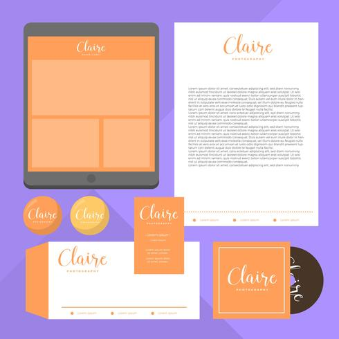 Flat Orange Feminin Corporate Identity Vector Template