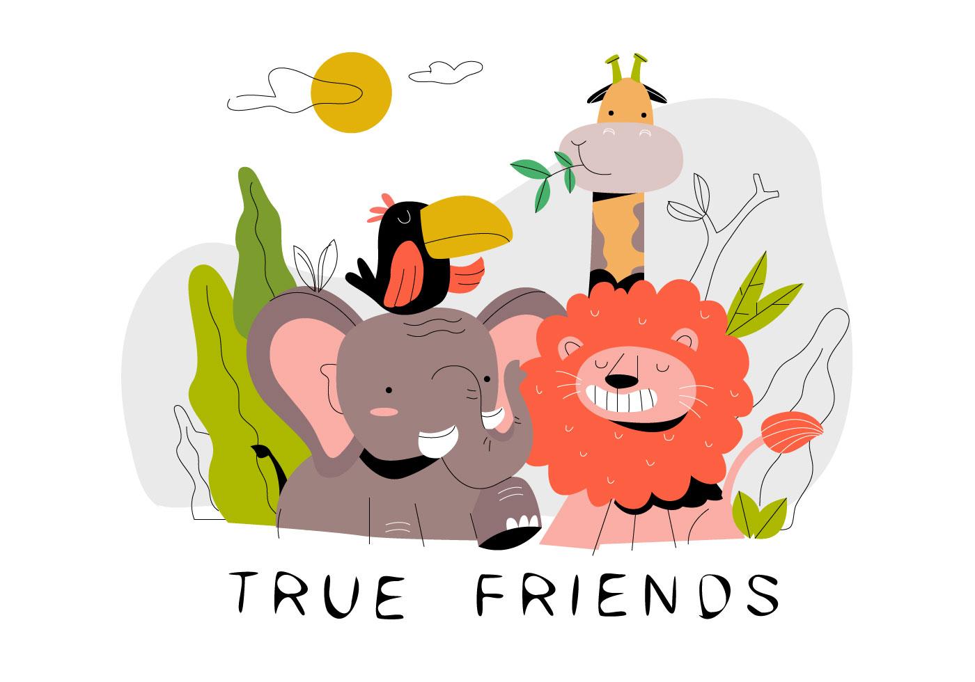 Funny Cute Cartoon Animal Friends In Jungle Vector Flat ...