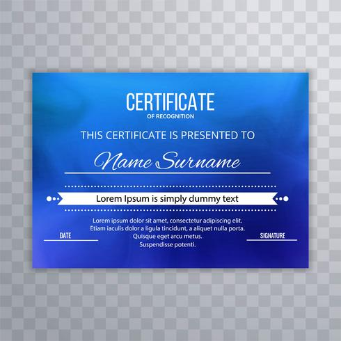 Abstract blue certificate background vector