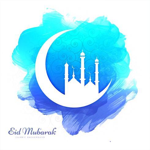 Belle carte fond aquarelle Eid Mubarak