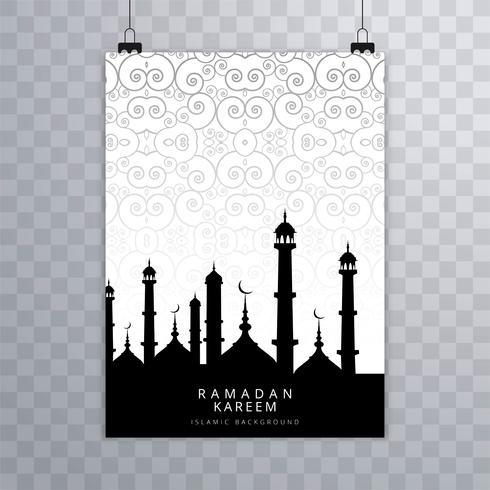 Modern Eid mubarak islamic brochure card vector