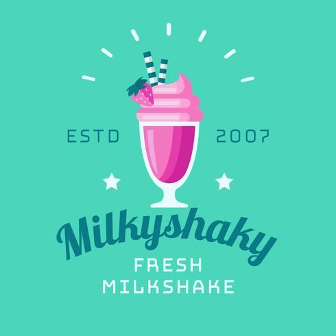 vector de logotipo de batido de leche tembloroso lechoso