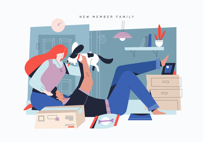 Pet Lover Adobting Cute Dog As New Member Family Vector Flat Illustration