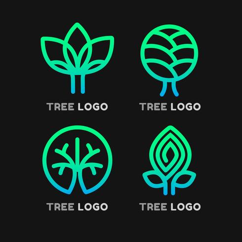 Elementos de logotipo de árbol