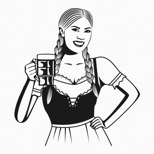 Deutsche Barmaid in der Dirndl-Pop-Art-Vektor-Illustration