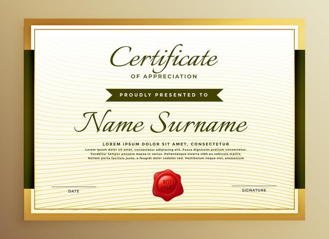 premium gouden certificaat van waardering sjabloon