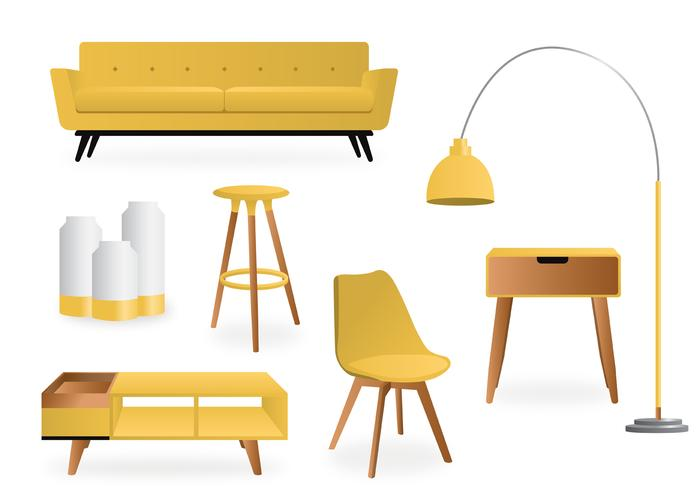 Realistic Yellow Minimalist  Interior Vector Pack