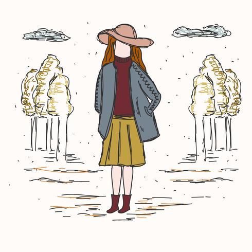 Chica en vector de moda de otoño