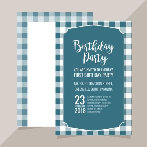 Vector Invitation with Plaid Pattern