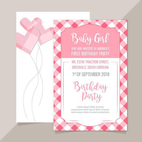 Vector Pink Plaid Invitation