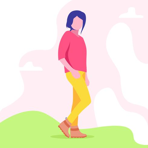 Woman in Fall Boots Illustration