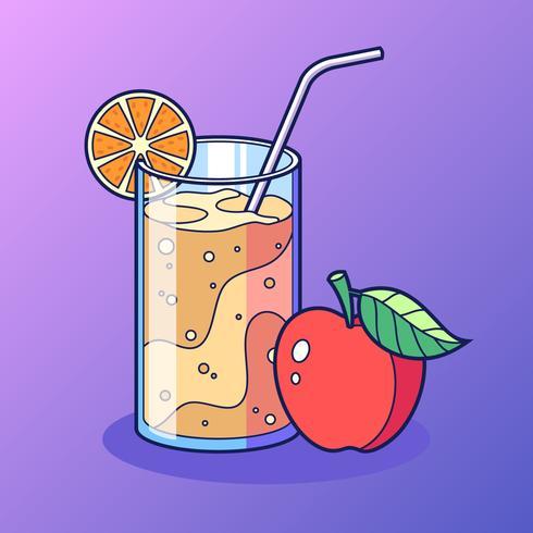 Un vetro della melma del sidro di Apple con la fetta di vettore del limone