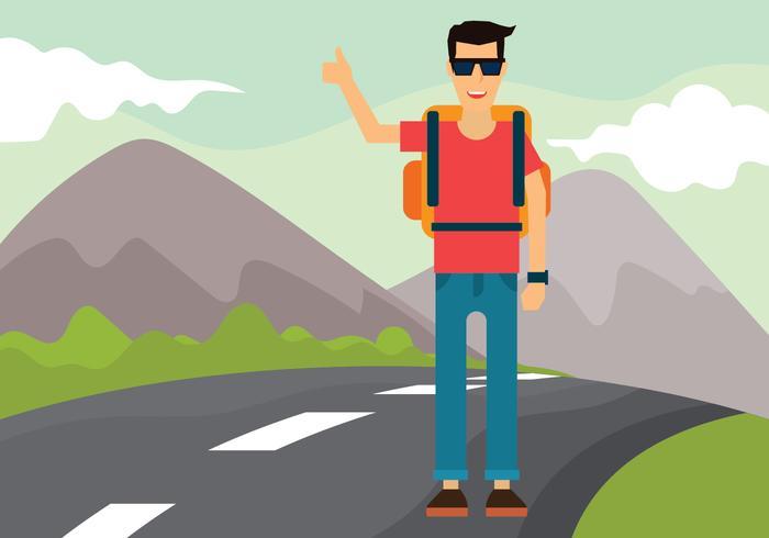 Hitch Hiker Vector Illustration