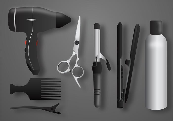 paquete de vector de herramientas de salón realista
