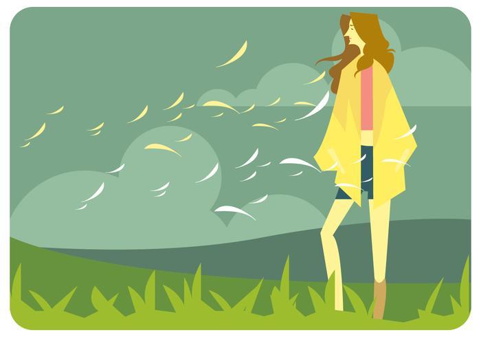 Menina, outono, moda, ao ar livre, vetorial