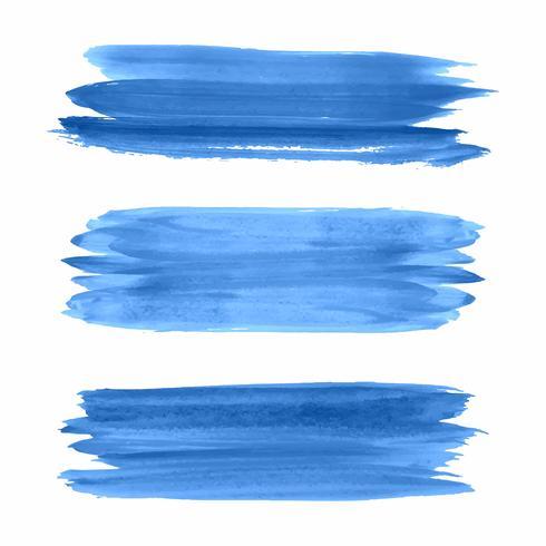 Hand draw blue watercolor strokes set vector