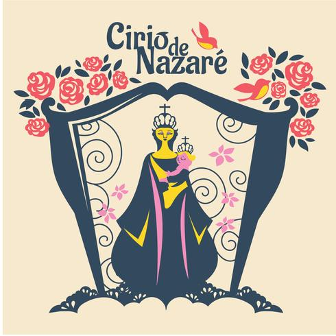 Flat Illustration of Our Lady of Nazareth or Cirio de Nazare