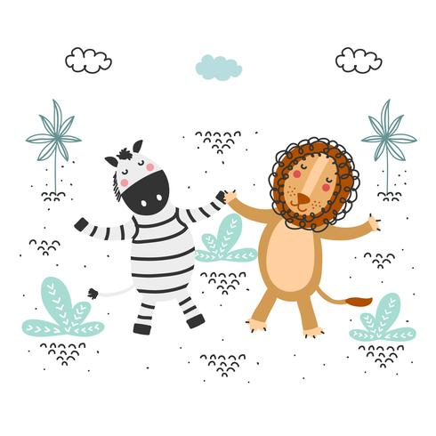 Lion And Zebra Vector