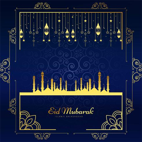 Beautiful Eid Mubarak card background illustration