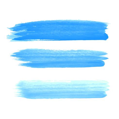 Abstract blue watercolor hand draw strokes set