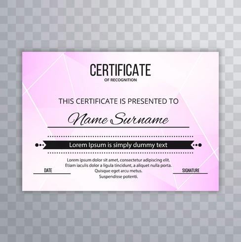 Modern certificate design polygon background