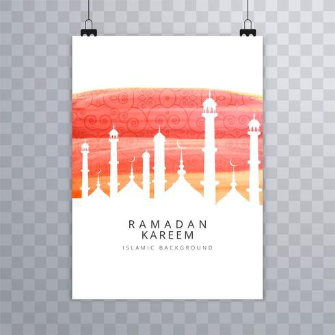 Eid mubarak card Vetor de modelo de folheto religioso