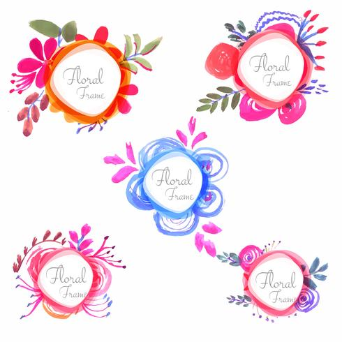 Abstract colorful watercolor floral set design