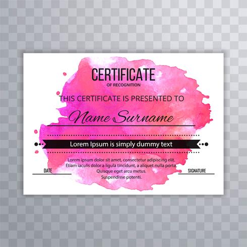 Abstract watercolor certificate design template