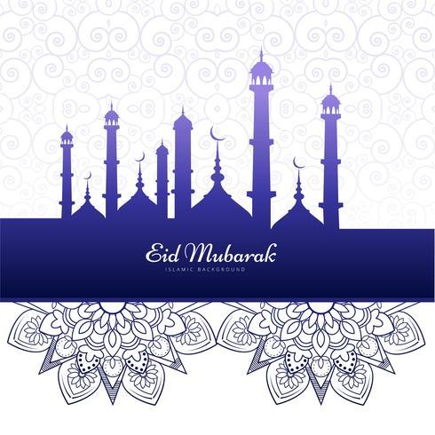 Elegant Eid mubarak islamisk bakgrundskort vektor