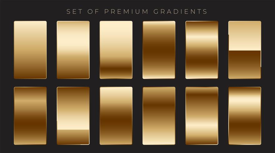 coleção de gradientes dourados mettalic brilhante