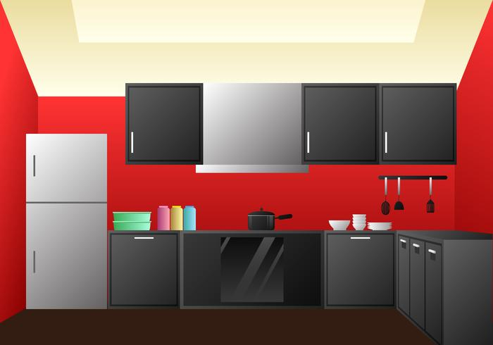 Realistic Kitchen Room Design Elements Vector
