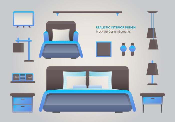 Realistic Bed Room Interior Design Element vector