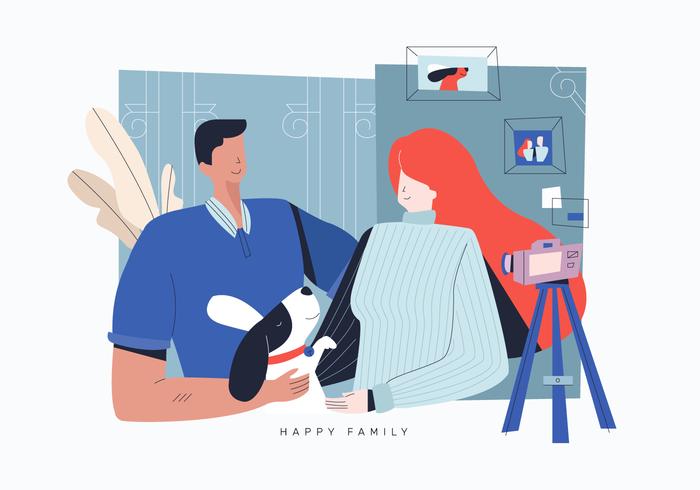 Dog Lover Happy Family Vector Flat Illustration