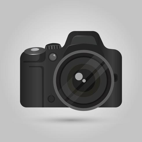 Realistic DSLR Camera Front View With Gradient background Vector Illustration