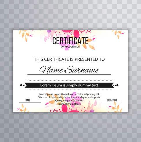 Hermoso fondo de diseño de certificado