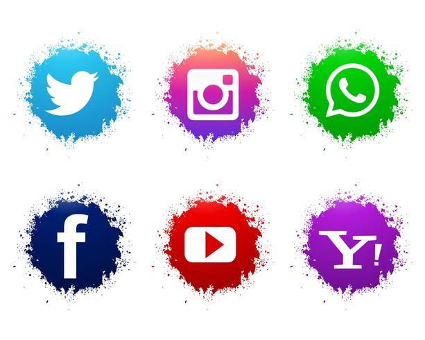 Abstract watercolor social media icons set